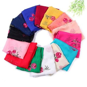 brand women scarf fashion Embroidery rose floral silk scarves lady shawls and wraps bandana female pashmina hijab stole foulard