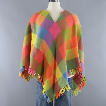 Vintage Wool Poncho Cape / Bright Pink and Orange Check