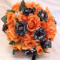 Custom Camo Bouquet-Orange with brass shells-Wedding Bouquet