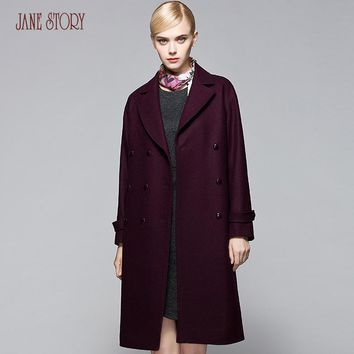 2017 Jane Story women winter Wool&Blends Coat Long Sleeve Notched Collar Pockets Single Breasted Buttton Wool Coat Office Coat
