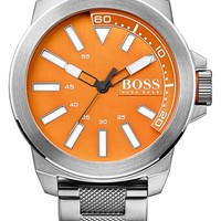 Men's BOSS Orange Textured Bracelet Watch, 50mm - Silver/ Orange