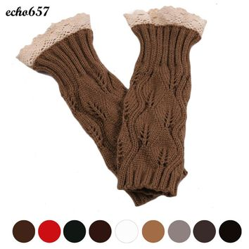 Echo657 Hot Sale Women's Fashion Hollow Out Lace  Knitted Gloves Oct 21