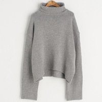 Turtleneck Warm Knit Jumper, Grey