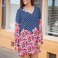 Beautiful Arrangements Dress, Navy-Coral