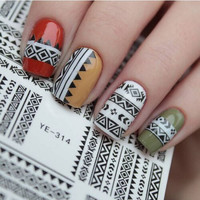 1 sheet Tribal Geo Pattern Nail Art Water Decals Nail Stickers Accessories Water Transfer Sticker Nail Art #21576