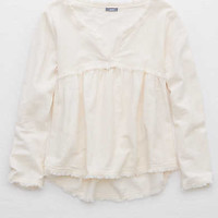 Aerie Frayed Peasant Top, Faded Neon Orange