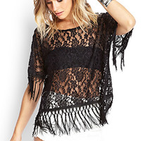 FOREVER 21 Floral Lace Fringe Top Black