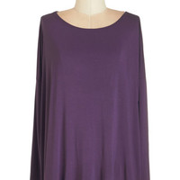 ModCloth Eco-Friendly Mid-length Long Sleeve Simplicity Under the Sunrise Top in Purple