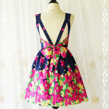 A Party V Shape Dress Navy Dress Pink Floral Backless Dress Spring Summer Sundress Wedding Bridesmaid Dresses Floral Party Dresses XS-XL