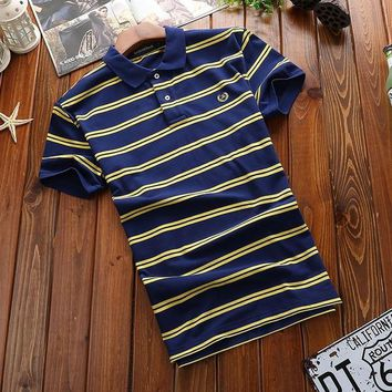 Envmenst Mens stripe Polo Shirt