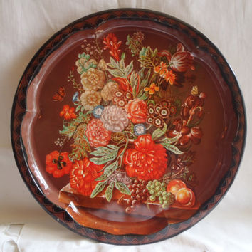 Metal Round Tray made in England Brown and Orange Flowers , Vintage England Tray
