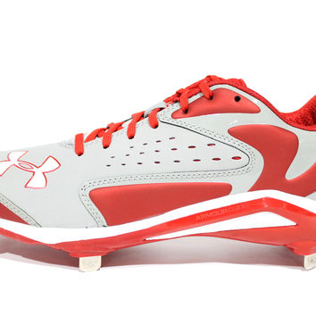 Under Armour Men's Yard Low ST Grey/Red Baseball Metal Cleats