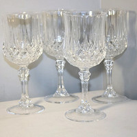 Durand Crystal Water Goblet, Chris D'Arques Longchamp, Wine Glass Set of Four