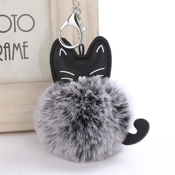 Cute Cat Pom Pom Keychain Pendant Key Ring Holder