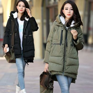 Maternity winter coat Military Hooded Fashion Thicken Down Coat for Pregnant Women Pregnancy Coats Outerwear Jackets Plus 5XL