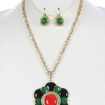 Red Black Green Fauceted Lucite Floral Pendant Necklace & Earring Set