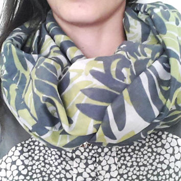 cotton infinity scarf, green white and grey, loop scarf