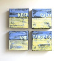 "Abstract Paintings, ""Keep Calm and Carry On"" Original Acrylics"