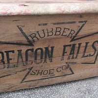 SOLD!  Antique Advertising Wooden Crate Graphics Beacon Falls Rubber Shoes