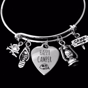 Happy Camper Jewelry Adjustable Silver Charm Bracelet Expandable Wire Bangle One Size Fits All Gift Trendy Camp Fire Lantern Flip Flop