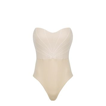 Bardot Strapless Mesh Pleating One Piece Swimsuit - Beige