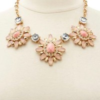 Faceted Stone Statement Bib Necklace by Charlotte Russe - Pale Peach