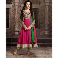 Karishma Kapoor Pink Georgette Indian Anarkali Suits With Dupatta - TheEthnicWear
