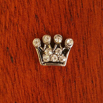 Clear Princess Crown Floating Charm for Glass Living Lockets