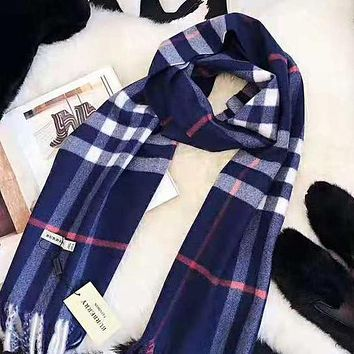 Burberry Popular Women Men Classic Plaid Tassel Cashmere Cape Scarf Scarves Shawl Accessories Blue