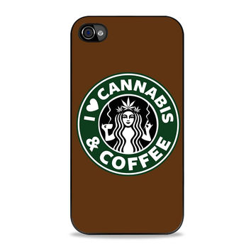 I Love Cannabis and Coffe Starbuck Parody Iphone 4S Cases