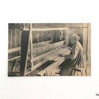 Vintage Postcard Quebec Canada antique post card woman at weaving loom handweaving textile