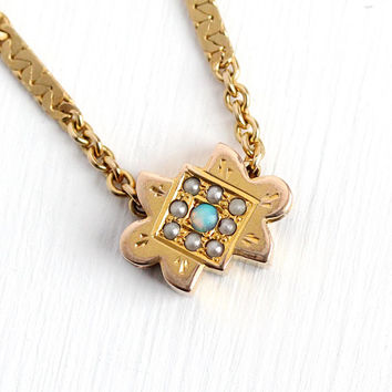 Antique Slide Chain - Opal & Seed Pearl Rosy Yellow 10k Gold Filled Charm Necklace - Vintage Victorian 1890s Jewelry Monogrammed Initials AS