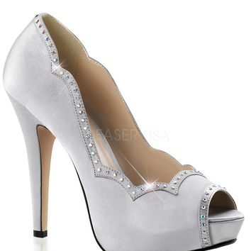 Rhinestone White Pumps