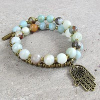 Confidence, Throat Chakra, Amazonite Gemstone 27 Beads Mala Bracelet with Hamsa Hand Charm
