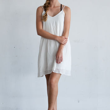 White Daisy Strap Dress