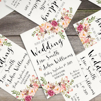 Invitation kit Wedding Invitation Pink Floral rustic watercolor Set/Suite Save the date RSVP Thank You Cards Printable digital files