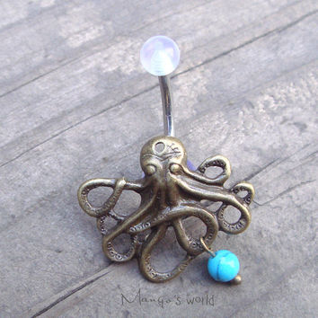 Bronze Octopus Belly Button Jewelry Ring with Turquoise Stone