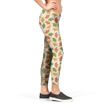 Fall ginkgo leaves pattern Leggings by Savousepate from €37.00 | miPic