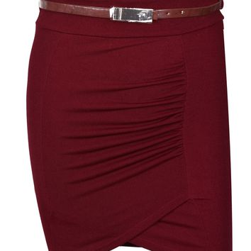 High Waist Stretch Pencil Straight Front Ruched and Belted Career Mini Skirt