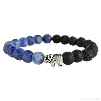 Elephant Oil Diffuser Bracelet Lapis Lazul on Sale for $16.99 at The Hippie Shop