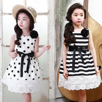 Children's clothing girls dress + corsage flowers dot lace wave point stripe vest dress kids Polka Dot
