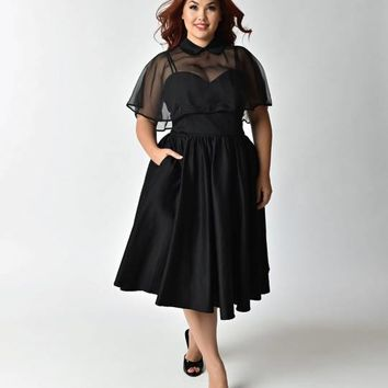 Unique Vintage Plus Size Black Brushed Cotton Luna Swing Dress & Mesh Capelet