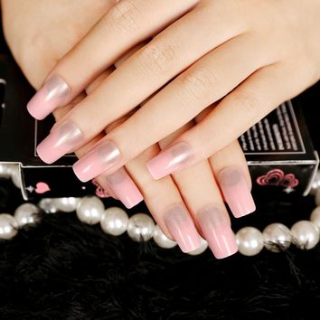 Fashion French Gradually Varied Pink False Nail 24 pcs Long Full Artificial Nail Tips with Glue Sticker faux ongles presse
