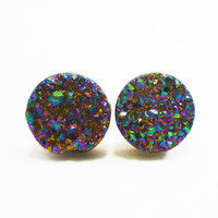 Rainbow Flame Druzy Stud Earrings n44 by AstralEYE on Etsy