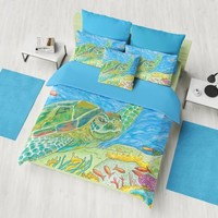 Sea Turtle Duvet Cover or Comforter - Leilani Miranda , coastal reef, undersea, honu, surf, colorful bedroom