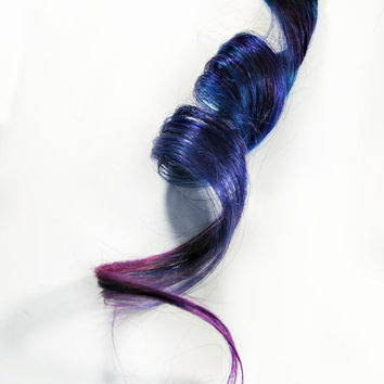 Purple Human hair extension, hair extension, blue clip in // lavender hair // Tie Dye Colored Hair // WILD GRAPES