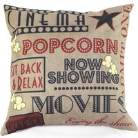 Popcorn Cinema Throw Pillow Case Cushion Cover Home Sofa Decorative