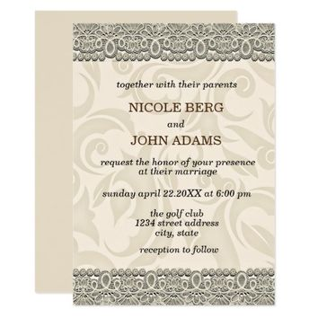 Beige Ivory Lace Texture | Wedding Invitation Card