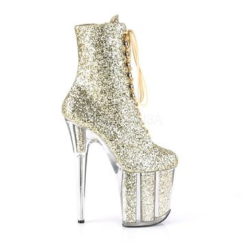 "Flamingo 1020G Gold Glitter - 8"" Heel Ankle Boot"