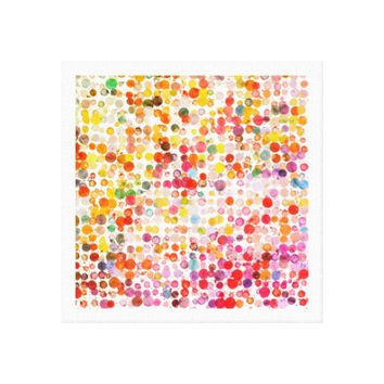 Colorful Painted Dots Pattern Canvas Art Piece
